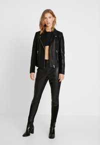 YAS - YASPAULINA NAPLON JACKET - Leather jacket - black - 1