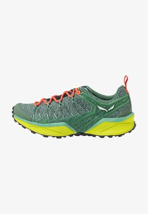 DROPLINE - Hiking shoes - feld green/fluo coral