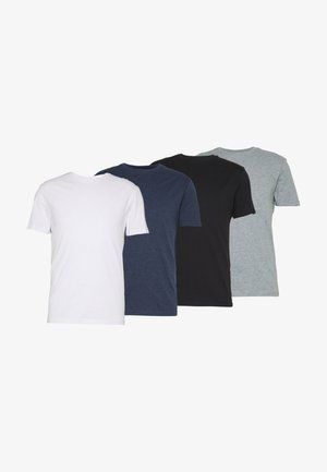 4 PACK - T-shirt - bas - black/white/blue