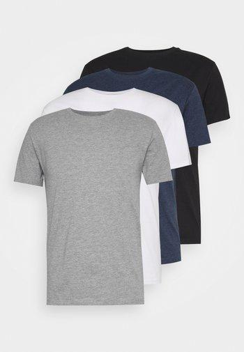 4 PACK - T-shirt - bas - black/white/blue