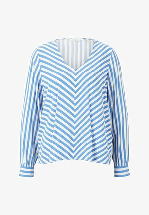 Blouse - mid blue white stripe