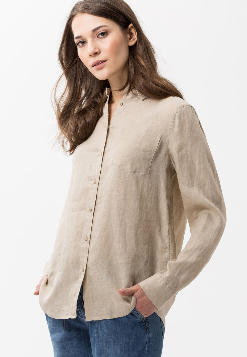 BRAX - VICTORIA - Button-down blouse - cookie
