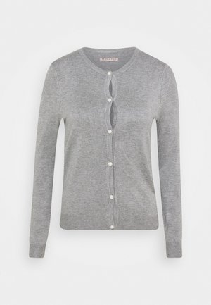 BASIC- PEARL BUTTON CARDIGAN - Cardigan - mottled grey