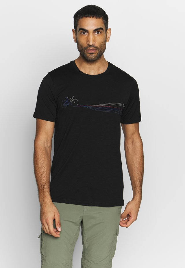 TECH LITE CREWE CADENCE PATHS - Print T-shirt - black