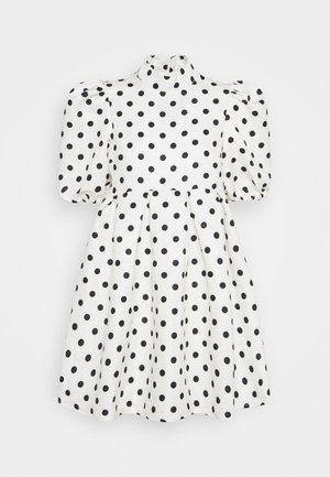 SPOT PUFF SLEEVE DRESS - Denní šaty - cream