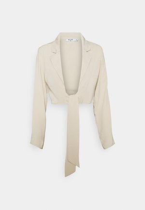FRONT TIE BLOUSE - Long sleeved top - beige