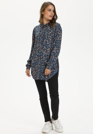 Button-down blouse - blue leaf print