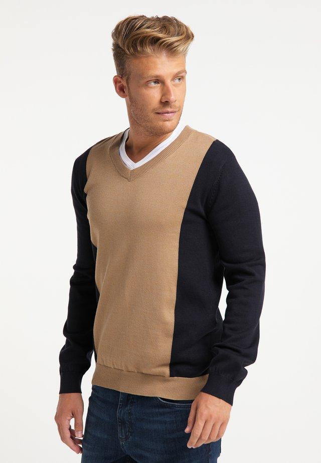 Pullover - dunkelsand marine