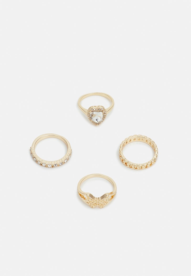 Topshop - HEART AND BUTTERFLY 4 PACK - Pierścionek - gold-coloured