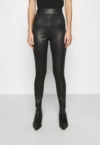 Topshop - CROC WETLOOK - Leggings - Trousers - black - 0