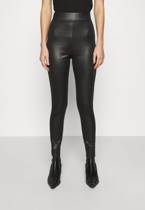 CROC WETLOOK - Leggings - black