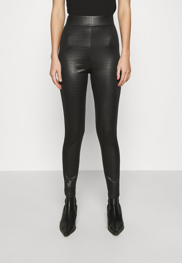 CROC WETLOOK - Leggingsit - black