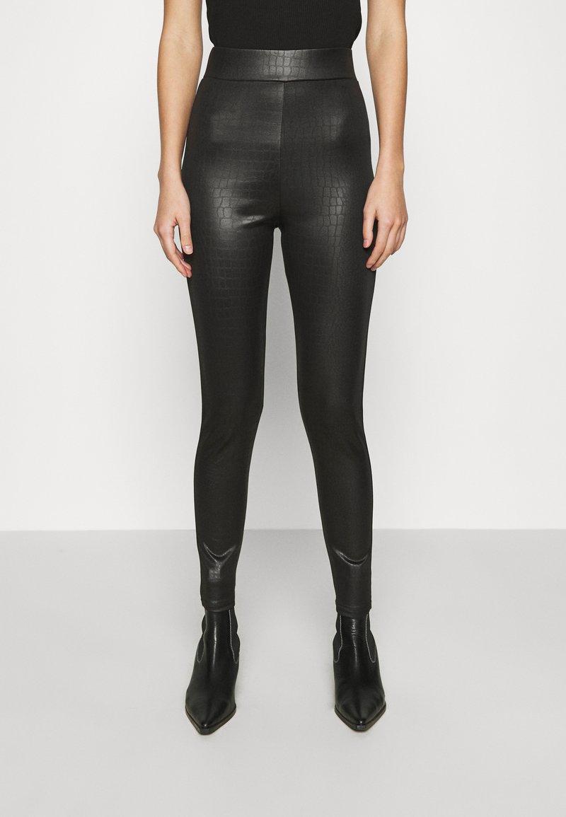 Topshop - CROC WETLOOK - Leggings - Trousers - black