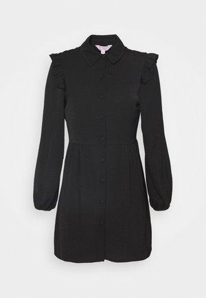 FRILL SLEEVE DRESS - Shirt dress - black