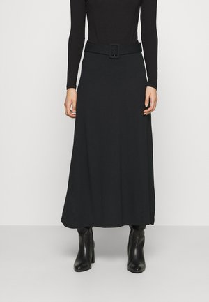 BASIC - Maxi A-line belted skirt - Maxiskjørt - black