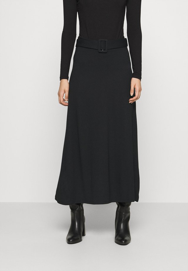 BASIC - Maxi A-line belted skirt - Jupe longue - black
