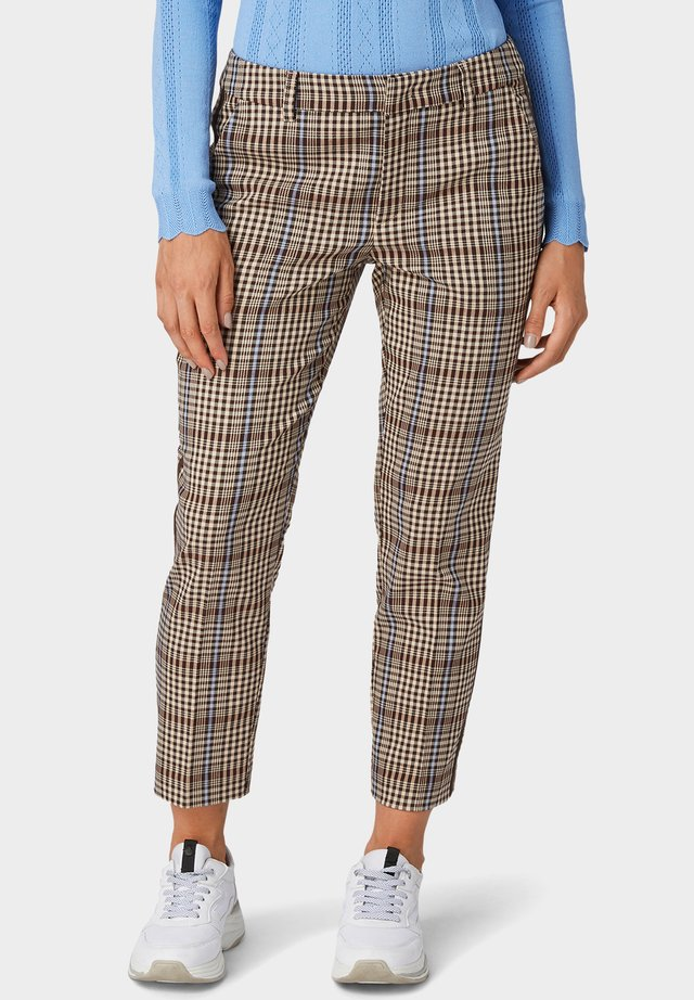 CIGARETTE PANTS - Pantalon classique - beige check with light blue