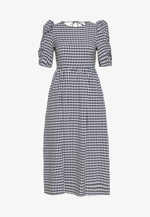 GINGHAM PUFF SLEEVE MIDI - Day dress - dark blue