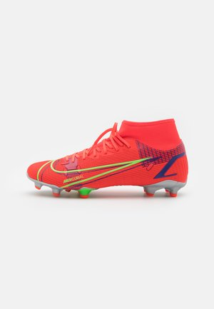 MERCURIAL 8 ACADEMY FG/MG - Moulded stud football boots - bright crimson/metallic silver