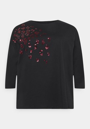 SEQUIN ANIMAL TEE - Long sleeved top - black
