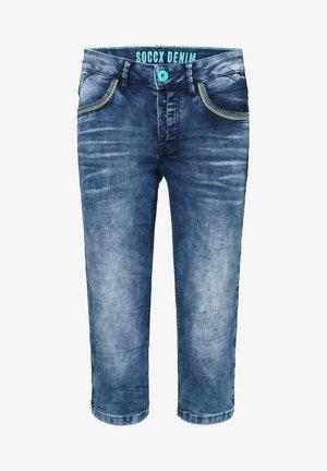 MIT TASCHEN-STITCHINGS - Denim shorts - ocean blue