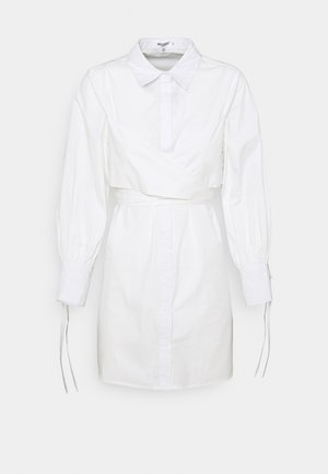 TIE WRAP DETAIL DRESS - Shirt dress - white