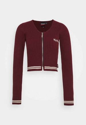 LONG SLEEVE RIB WITH ZIP - Kardigan - burgundy
