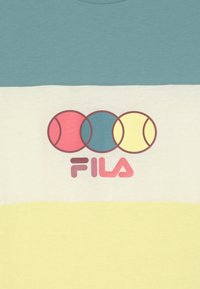 Fila - PEBBELS BLOCKED UNISEX - Print T-shirt - wax yellow/cameo blue/snow white - 2