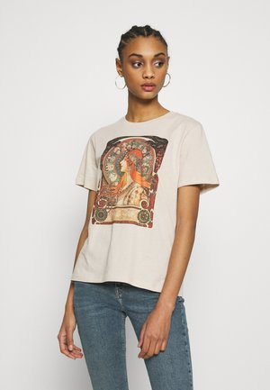 HATTIE WITH MUCHA AND KLIMT - T-shirt z nadrukiem - off white