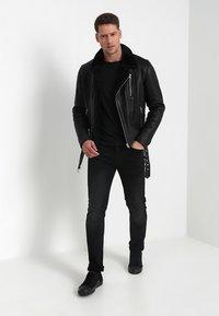 Serge Pariente - ROCKER DOUBLE FACE - Kožená bunda - black - 1