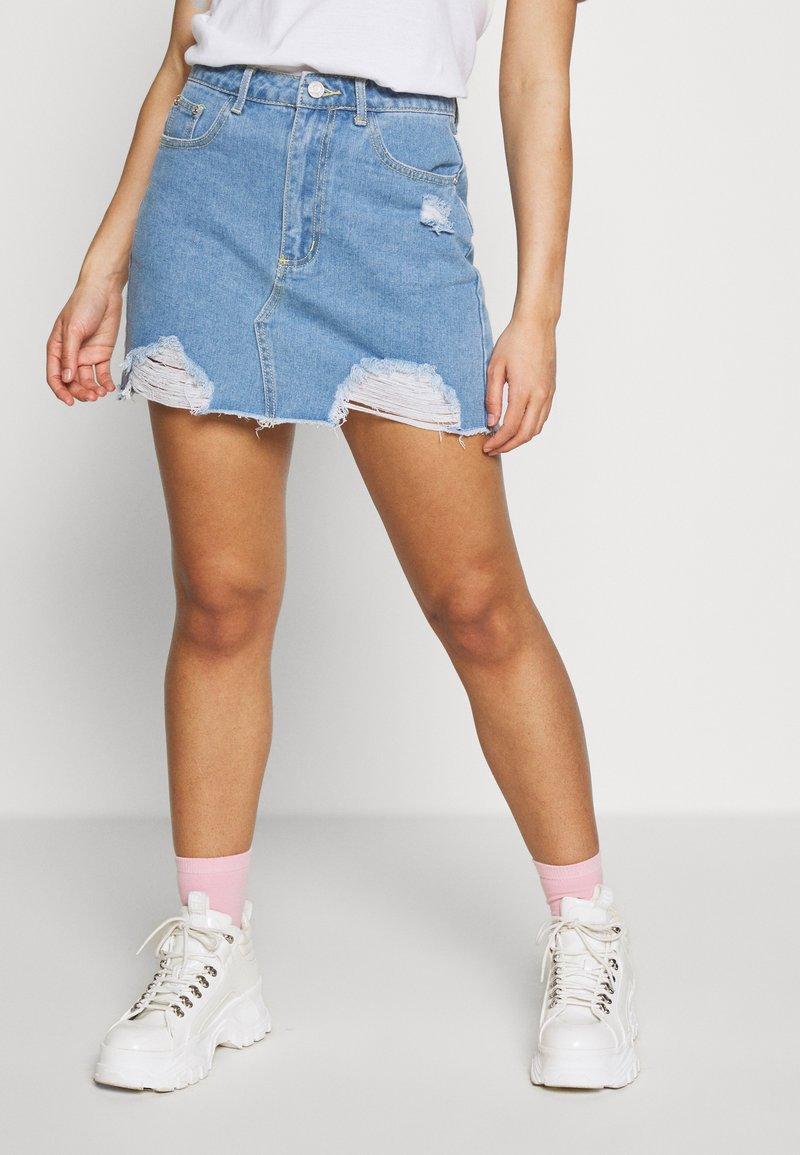 Missguided Petite - MINI SKIRT - Denim skirt - blue