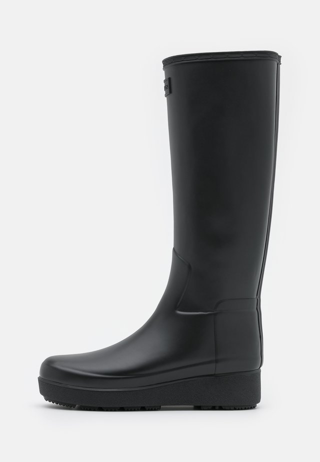 WOMENS REFINED CREEPER KNEE TALL - Bottes en caoutchouc - black