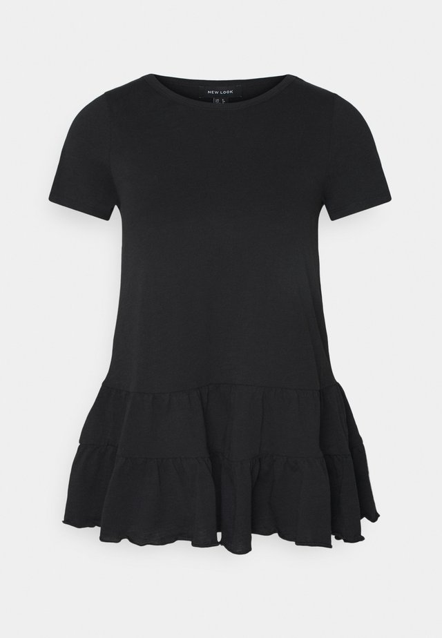 DOUBLE PEPLUM TEE - T-shirt imprimé - black