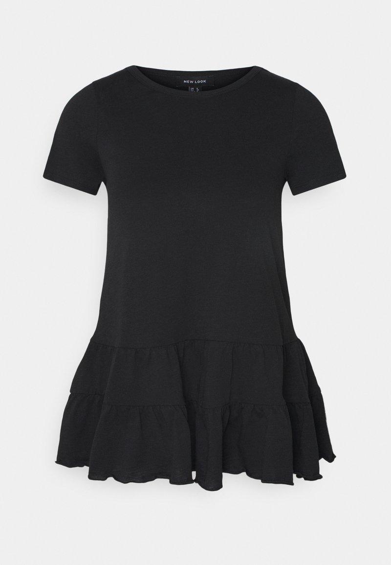 New Look - DOUBLE PEPLUM TEE - T-shirt z nadrukiem - black
