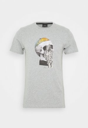 MENS SLIM FIT GLOBE SKULL - T-Shirt print - mottled grey