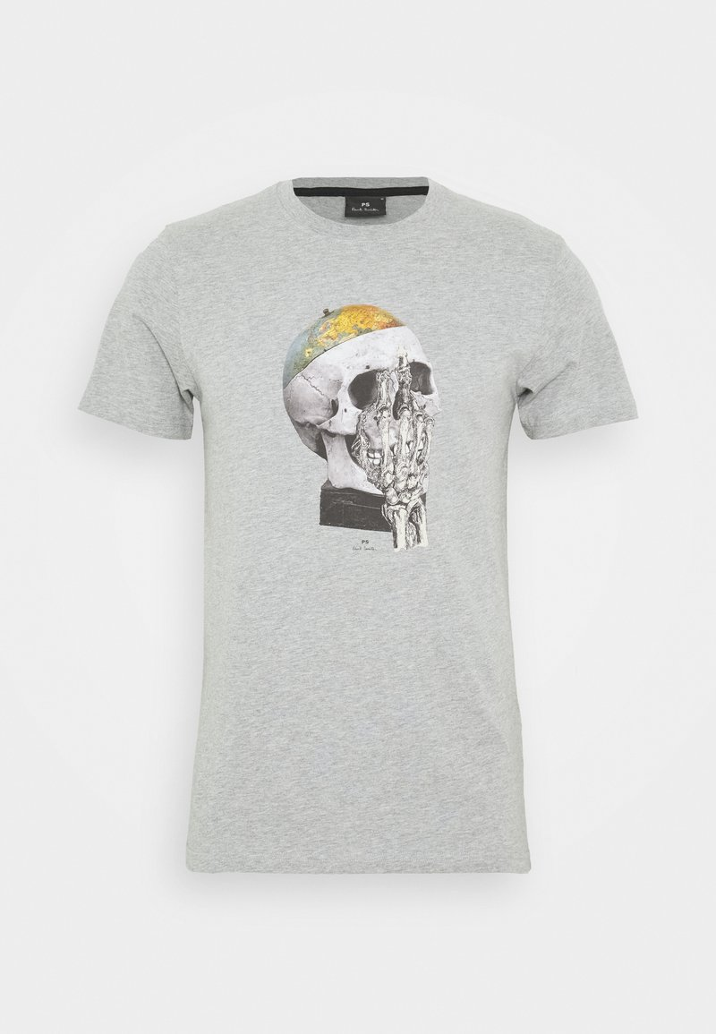 PS Paul Smith - MENS SLIM FIT GLOBE SKULL - T-shirt con stampa - mottled grey