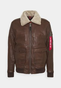 Alpha Industries - G1 LEATHER JACKET - Leather jacket - brown - 0