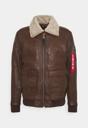 G1 LEATHER JACKET - Leather jacket - brown