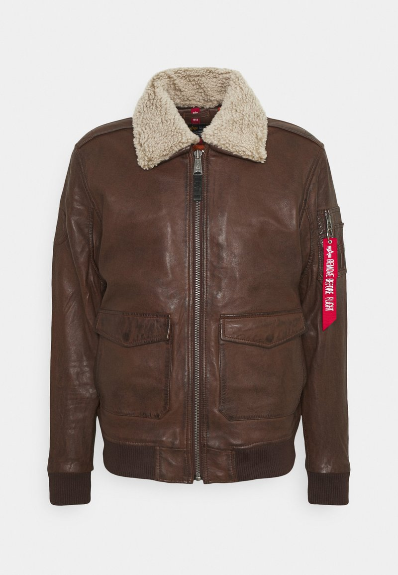 Alpha Industries - G1 LEATHER JACKET - Leather jacket - brown