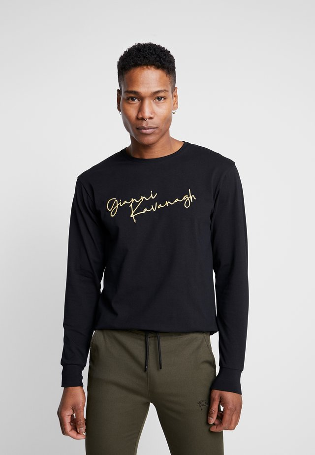 SIGNATURE LONG SLEEVE TEE - T-shirt z nadrukiem - black