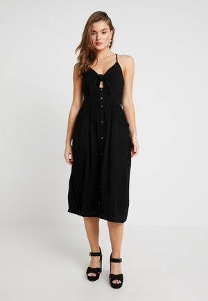 JAYDE TIE FRONT MIDI DRESS - Shirt dress - black