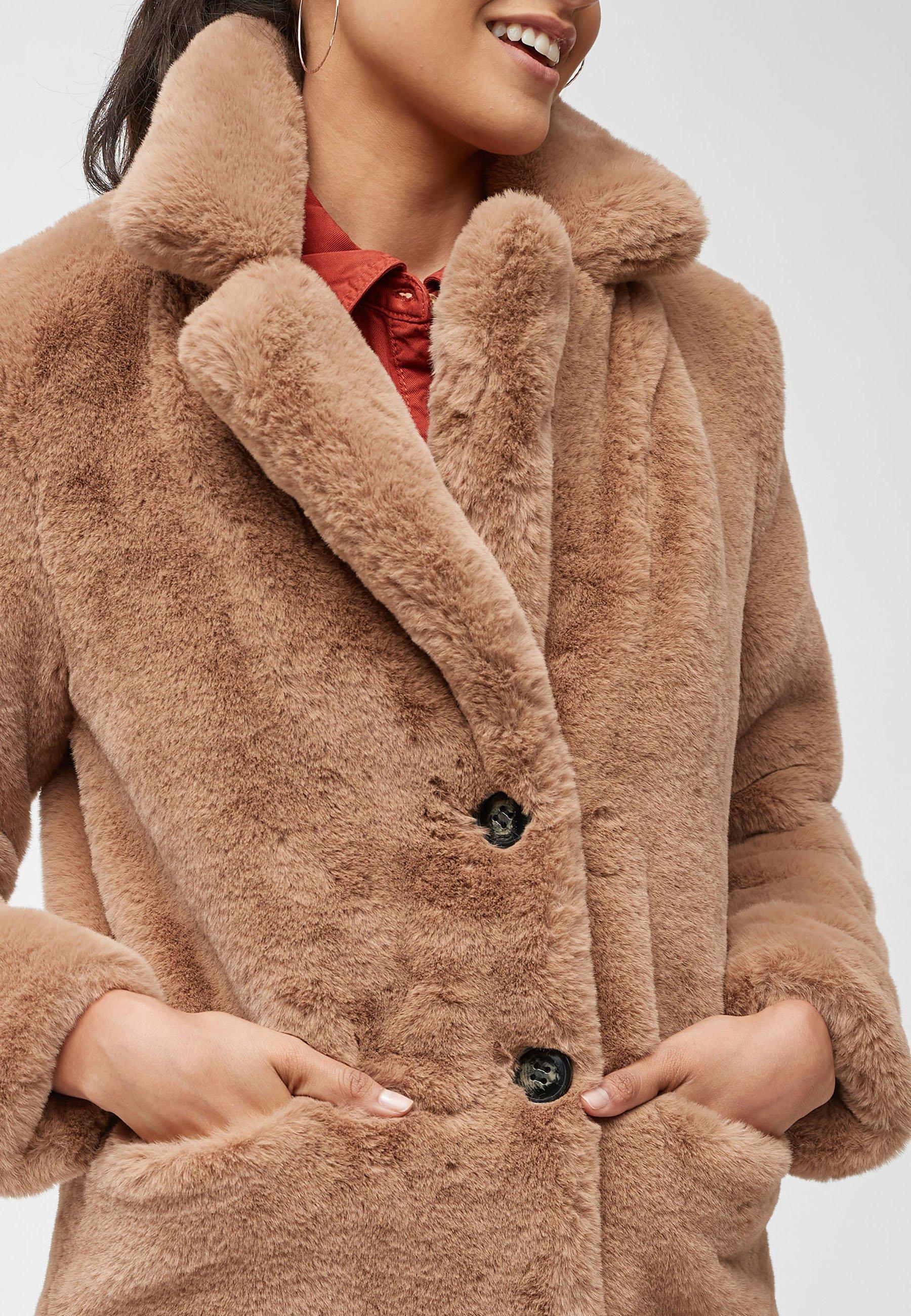 CAMEL FAUX FUR COAT Wintermantel light brown