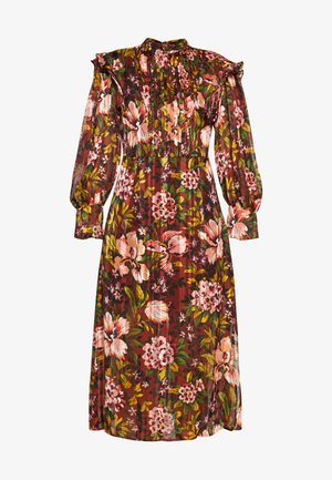 VINTAGE FLORAL MIDI - Day dress - brown