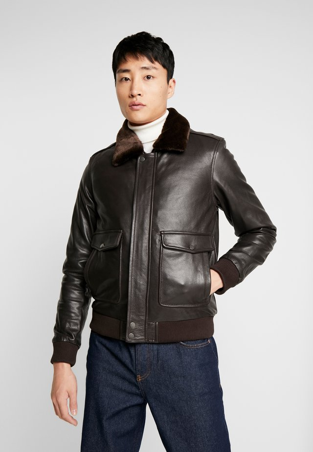 PILOT - Leather jacket - dark brown