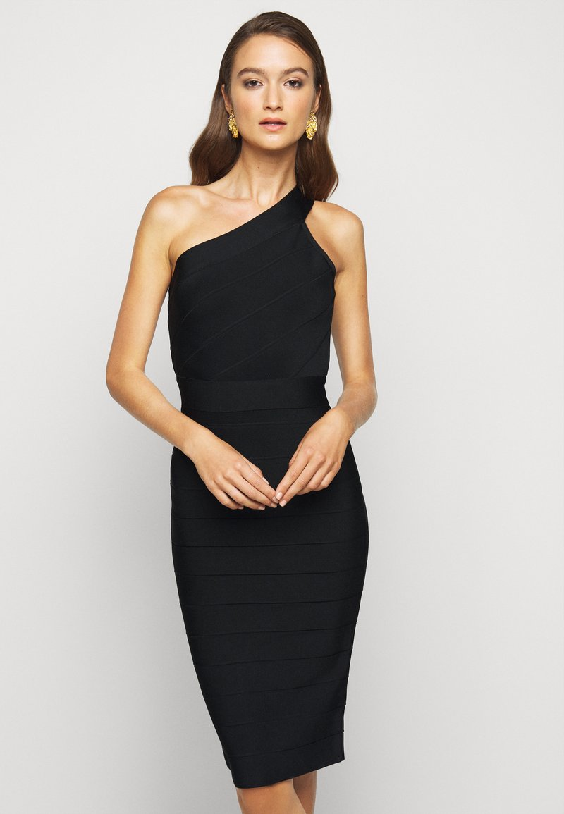 Hervé Léger - ONE SHOULDER ICONIC - Pouzdrové šaty - black
