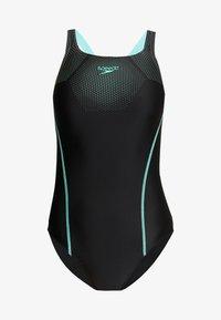 Speedo - TECH MEDALIST - Swimsuit - black/green glow - 3