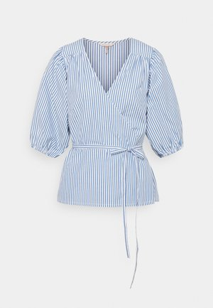 BLOUSE OVERLAP STRIPES - Pusero - blue/white