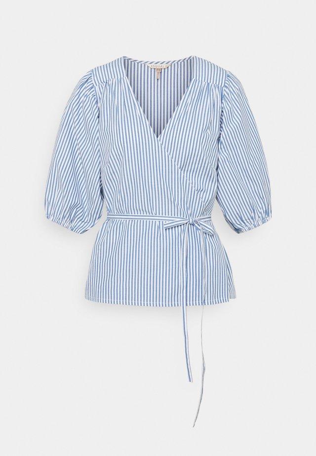 BLOUSE OVERLAP STRIPES - Blouse - blue/white