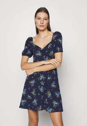DITSY RUCHED FRONT BUBBLE SLEEVE FIT AND FLARE DRESS - Jerseykjole - blue