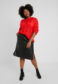 Lost Ink Plus - SKIRT WITH POCKETS - A-line skirt - black - 1